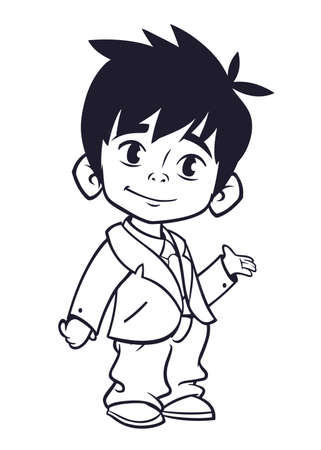 little one: Vector illustration of small boy in mans clothes outlines. Cartoon of a young boy dressed up in a mans business suit presenting. Countur. Coloring book