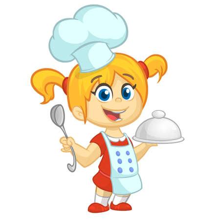 Beeldverhaal klein meisje dat een dienblad met een schotel en een louche houdt. Vectorillustratie van tienermeisje Turkije voorbereiden en upron dragen en kok die toque. schets Vector Illustratie