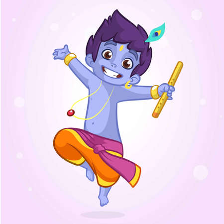 krishna: Little cartoon Krishna with a flute. Greeting card for Krishna birthday. Vector illustration isolated on a white background. Outlined illustration