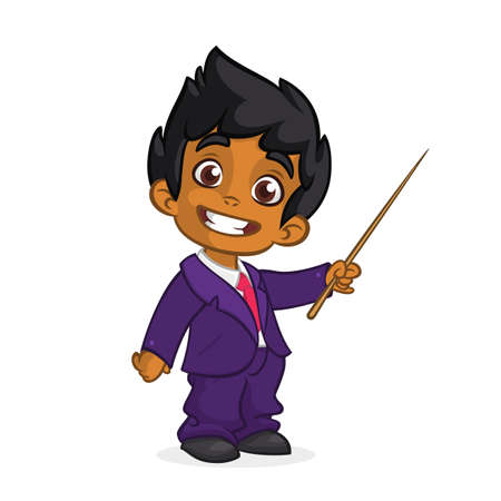 Cartoon cute arab  boy dressed up in a mans business blue suit presenting with pointer. Vector illustration of afro-american or indian boy presenting