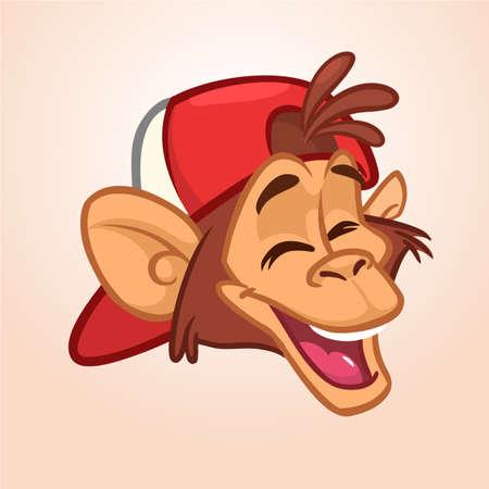 Cartoon monkey. Vector happy monkey head icon. Illustration isolated