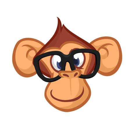 Cabeza feliz del mono de la historieta. Vector icono de chimpancé. Diseño para pegatina, icono o emblema Foto de archivo - 84071129