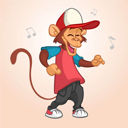 Cool monkey rapper character in modern clothes. Vector flat cartoon illustration. Chimpanzee dancing outlined