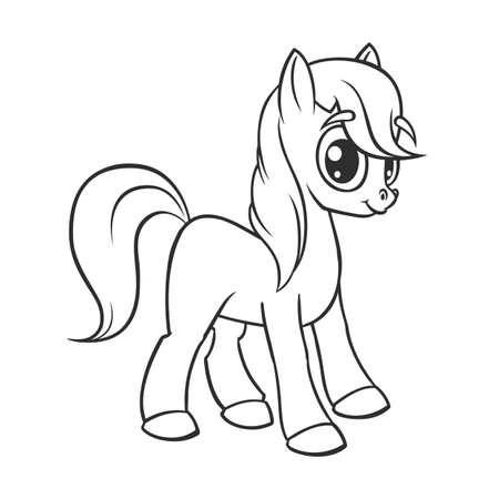 Cute cartoon little white baby horse , beautiful pony princess character, vector illustration isolated on white outlined.