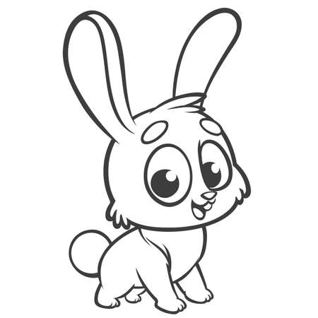 Coloring pages. Animals. Cartoon of a little cute bunny stands and smiles. Outlined line art. Vector illustration of a rabbit