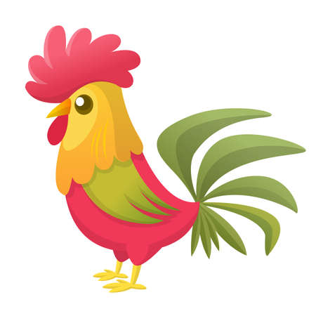 new: Cartoon rooster with bright feathers on the tail and a red crest. Vector illustration
