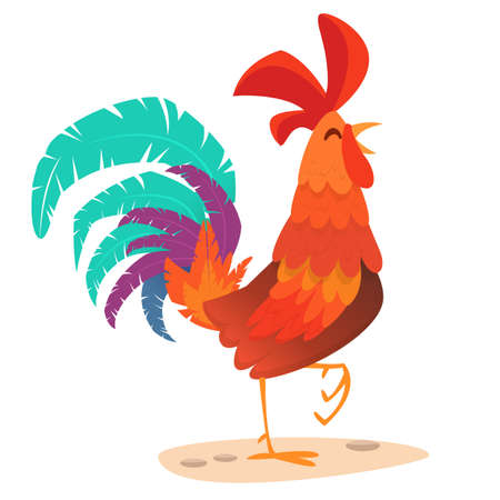 Rooster cartoon. Illustration  greeting card design for Happy new year 2017 Illustration