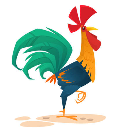 Cartoon vector rooster. Design element for Chinese New Year