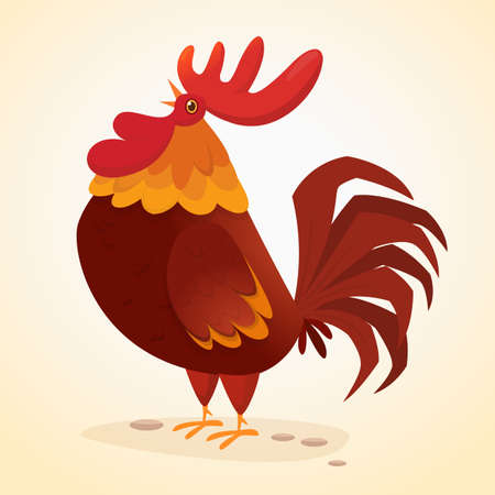 Fat cartoon rooster. Colorful vector illustration of singing rooster Vettoriali