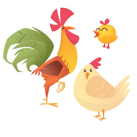 Cartoon illustration of rooster, hen and chicken, isolated on white. Vector Illustration