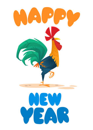 Template greeting card for  Chinese New Year with cute cartoon rooster. Vector illustration.