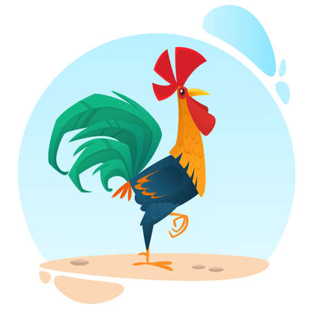 Cute vector cartoon rooster mascot. Illustration of a colorful rooster standing on one leg