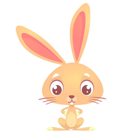 Cute cartoon rabbit. Farm animals. Vector illustration of a bunny. Mock up for print decoration isolated on white