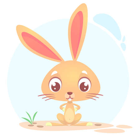 holiday: Cute cartoon rabbit. Farm animals. Vector illustration of a bunny sitting isolated on simple background. Illustration