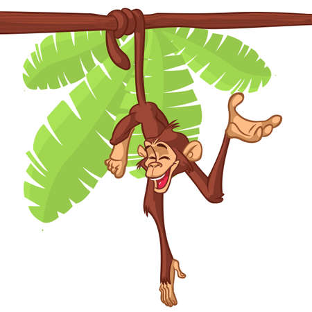 Cute Monkey Chimpanzee Hanging  On Wood Branch Flat Bright Color Simplified Vector Illustration In Fun Cartoon Style Design. Vector drawing of a monkey outlined Illustration