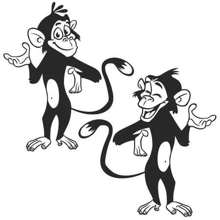 Set of cartoon monkey expression. Vector illustration outlined