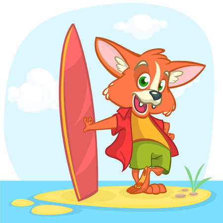 Cartoon summer holiday background with fox surfer. Vector illustration of white cute fox standing with his surfboard