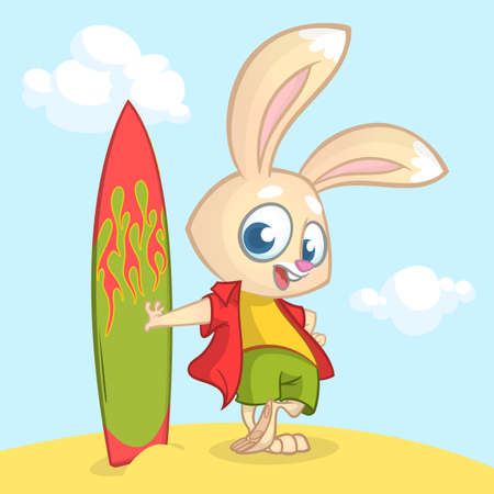 Cartoon summer holiday background with rabbit surfer. Vector illustration of white bunny standing with his surfboard