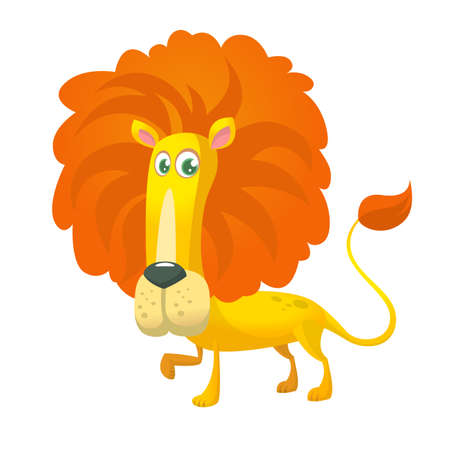 Cute cartoon lion character. Vector illustration on white background.