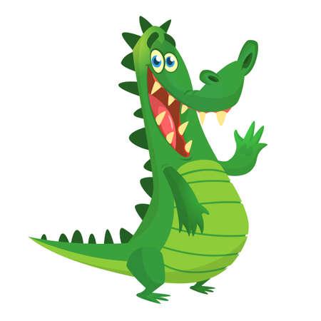 Cartoon crocodile. Vector character.