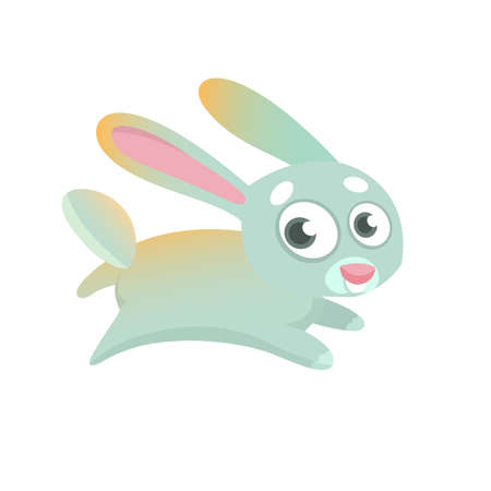 Cute cartoon bunny character. Wild forest animal collection. Baby education. Isolated. White background. Flat design Vector illustration.