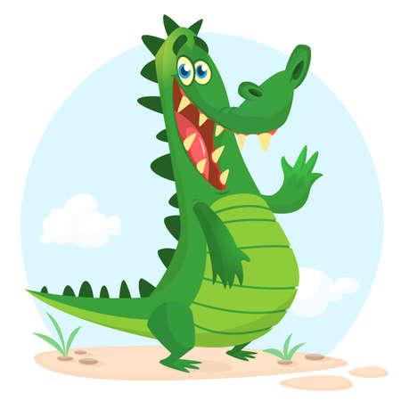 Cute crocodile or dinosaur waving cartoon. Vector character illustration for chlidren book.