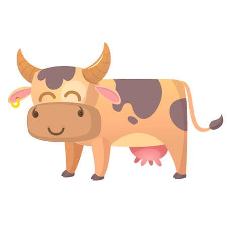 Vector illustratie van Cartoon Cow. Boeren dier geïsoleerd op een witte achtergrond. Stock Illustratie