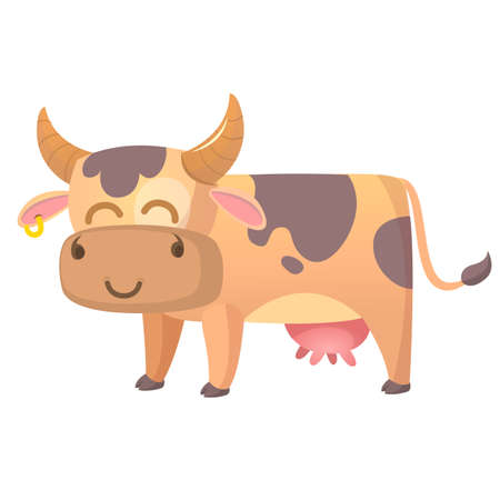 Vector illustration of Cartoon Cow. Farm animal isolated on white background.
