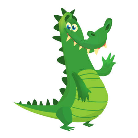 Cartoon crocodile. Vector character icon isolated on white background.
