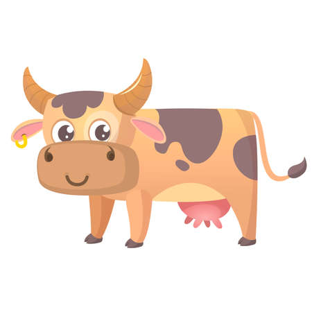 Vector illustration of cartoon cow smiling. Farm animal isolated on white Illustration