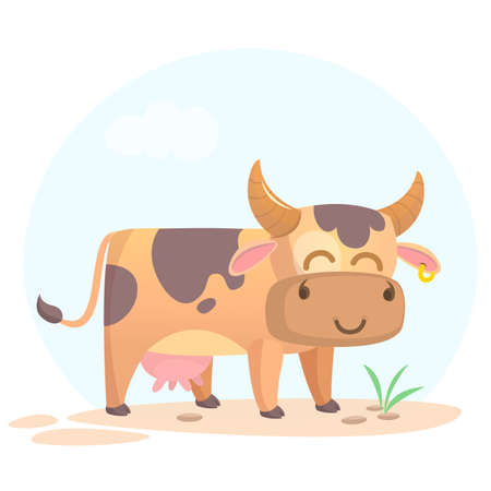 Vector illustration of cartoon cow smiling. Farm animal isolated on simple background