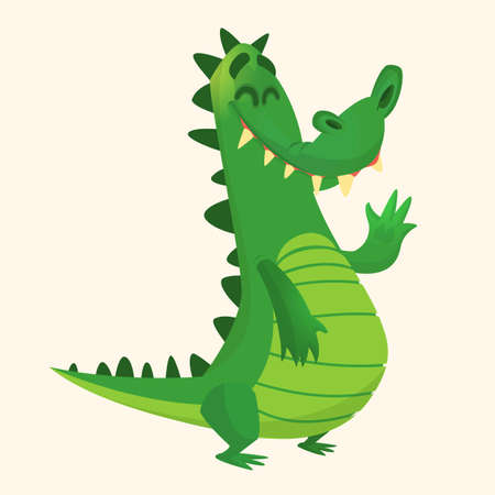 Cartoon shy crocodile smiling and waving. Vector character for sticker design or decoration.