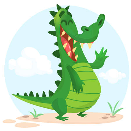Cute cartoon  crocodile or dinosaur character. Wild  animal collection. Baby education. Isolated vector illustration on white background.