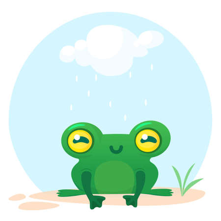 Cute frog cartoon character. Illustration