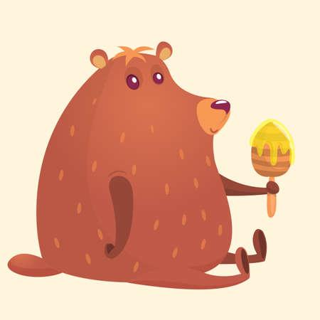 Cute cartoon brown bear holding honey wooden stick. Illustration