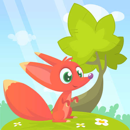 Cute cartoon  fox character. Vector illustration.