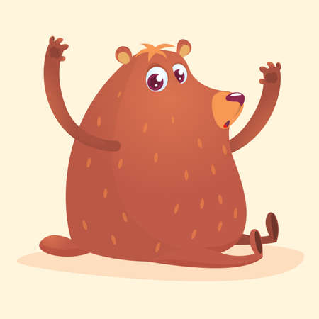 Happy cartoon brown bear.