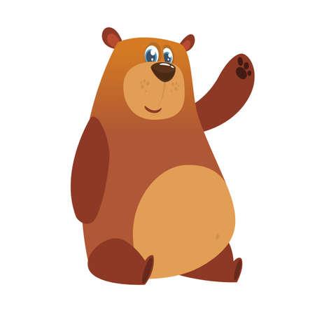 Happy cartoon brown bear.