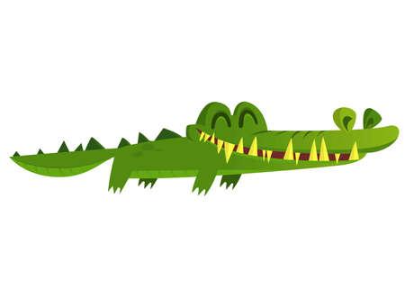 Cute crocodile lizard cartoon swimming. Vector character illustration for children book.
