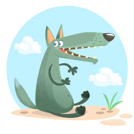 Cute cartoon wolf character. Wild forest animal collection. Baby education. Isolated. White background. Flat design Vector illustration.