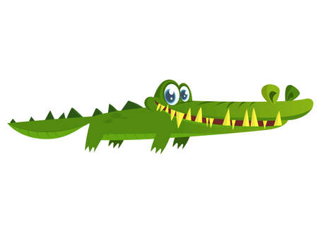 Cute crocodile. Vector character illustration isolated on white background.