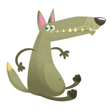 Cartoon wolf character. Vector illustration isolated on white background. Icon design.