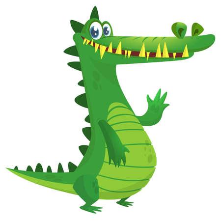 Cartoon crocodile. Vector isolated green dinosaur.