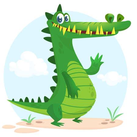 Personnage de crocodile de dessin animé mignon. Collection d'animaux sauvages de la jungle. Éducation de bébé. Isolé. Contexte de la nature simple. Illustration vectorielle