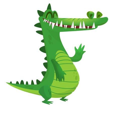 Cartoon crocodile. Vector raptor character icon.