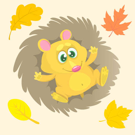 Cute cartoon hedgehog character. Wild forest animal collection. Baby education. Isolated on white background. Vector illustration.