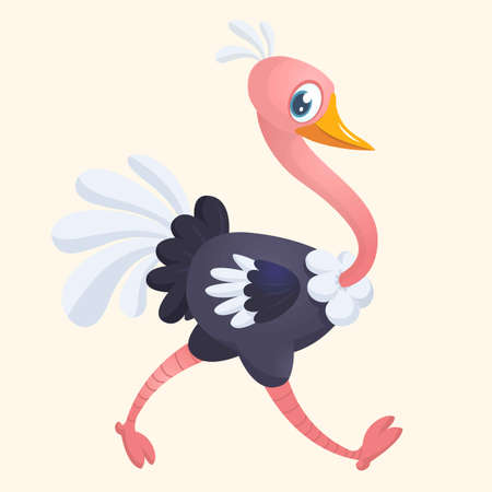 Cartoon cute ostrich. Vector illustration or icon.