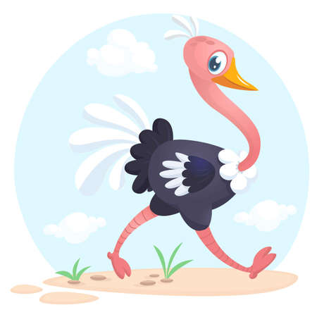 Cute cartoon ostrich character. Wild  animal collection. Baby education. Isolated vector illustration. Çizim