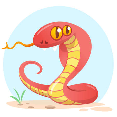 Cartoon red snake. Cute cartoon character. Wild animal collection. Baby education. Isolated. White background. Flat design Vector illustration. Illustration