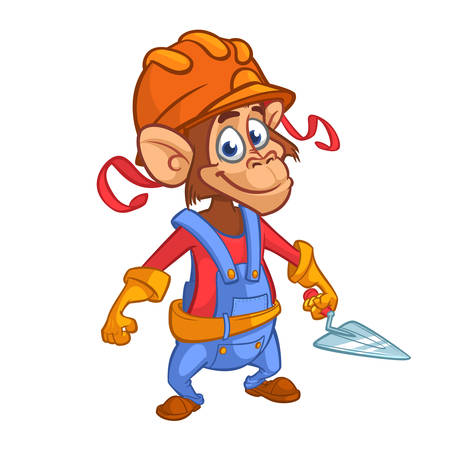 Cartoon construction worker monkey with a trowel. Vector illustration.